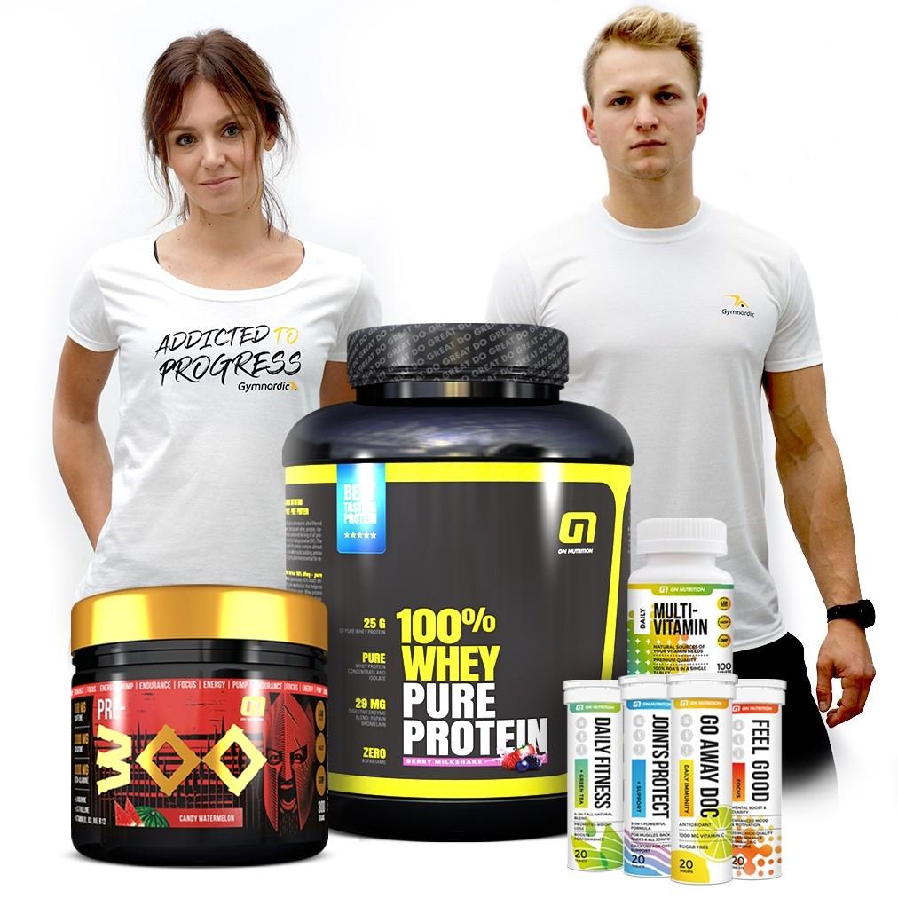 100% Whey + PRE300 + Vitamins + Free T-shirt